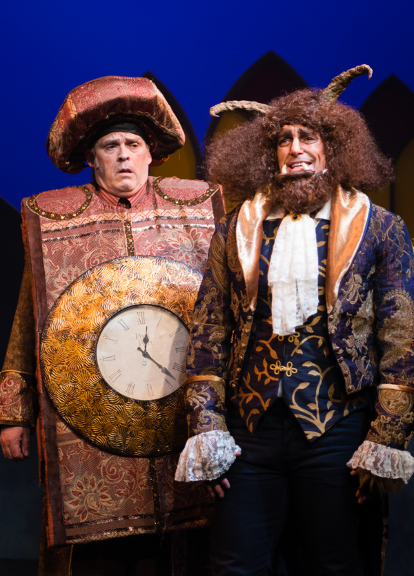 The Beast (TYLER MCKENNA* ) opens up to Cogsworth (PAUL PLAIN) about their beautiful vistor in Berkeley Playhouse's production of Disney's Beauty and the Beast, directed by Kimberly Dooley. Performing at the Julia Morgan Theater now through December 23, 2