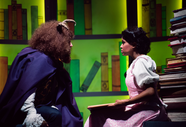 A tale as old as time begins to work its magic as Belle (JANELLE LASALLE) and the Beast (TYLER MCKENNA* ) share a tender moment in Berkeley Playhouse's production of Disney's Beauty and the Beast, directed by Kimberly Dooley. Performing at the Julia Morga
