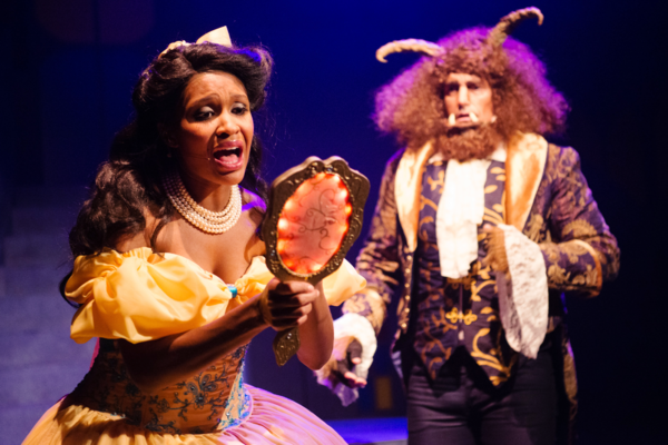 Belle (JANELLE LASALLE) discovers the Beast (TYLER MCKENNA*)'s dark secret in Disney's Beauty and the Beast, directed by Kimberly Dooley. Performing at the Julia Morgan Theater now through December 23, 2016. Photo by Ben Krantz Studio.