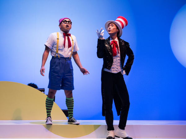 Pictured (L-R): Jeigh Madjus and Jonathan Tan in a scene from Seussical™ at Young People's Theatre; Set Design by Judith Bowden, Costume Design by Charlotte Dean, Lighting Design by Jason Hand; | Photo by Cylla von Tiedemann.