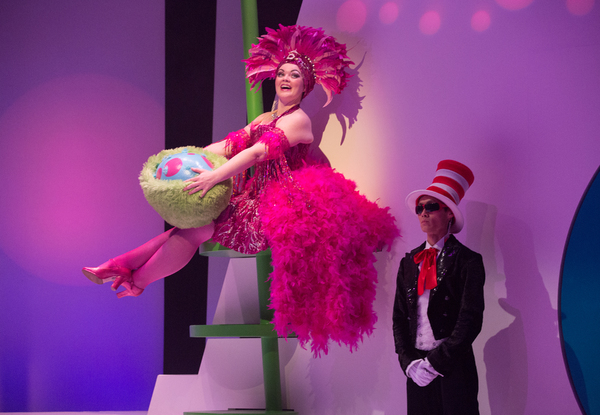 Pictured (L-R): Erin Breen and Jonathan Tan in a scene from Seussical™ at Young People's Theatre; Set Design by Judith Bowden, Costume Design by Charlotte Dean, Lighting Design by Jason Hand; | Photo by Cylla von Tiedemann.