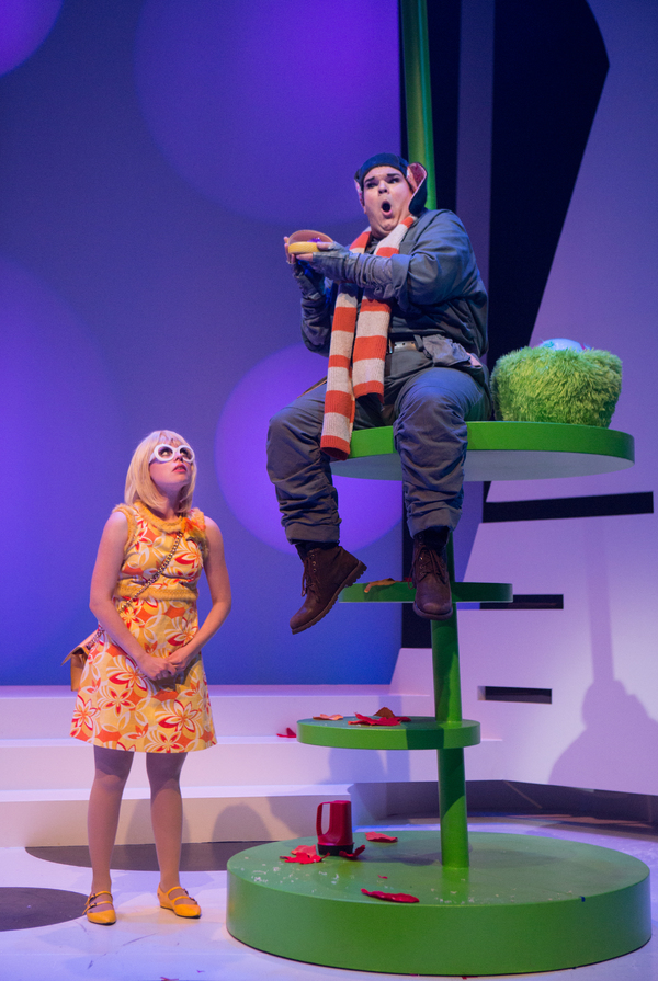 Pictured (L-R): Arinea Hermans and Jacob MacInnis in a scene from Seussical™ at Young People's Theatre; Set Design by Judith Bowden, Costume Design by Charlotte Dean, Lighting Design by Jason Hand; | Photo by Cylla von Tiedemann.