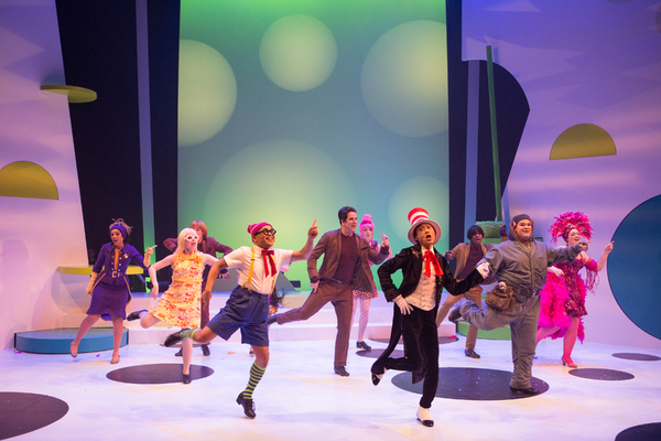 Pictured (L-R): Grace McRae, Arinea Hermans, Robert Markus, Jeigh Madjus, Mike Jackson, Claire Rouleau, Jonathan Tan, Jahlen Barnes, Jacob MacInnis and Erin Breen in a scene from Seussical™ at Young People's Theatre; Set Design by Judith Bowden, Costu