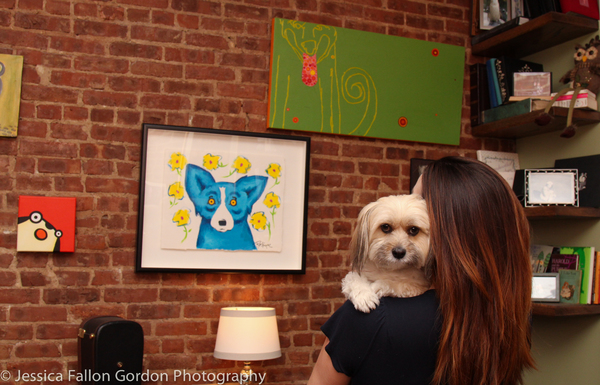 Pepper and Julia Murney in front of the Dog Wall featuring artwork by Broadway's Marcy Harriell (upper righthand corner)