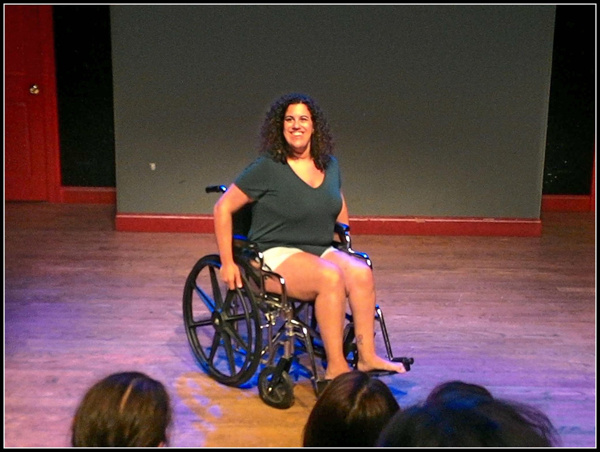 Actress/writer, Stephanie Gould, in the world-premiere performance of Walk With Me at the Peoples Improv Theater. The show was part of the 4th Annual SOLOCOM Festival. Directed by Chris Booth, produced by Peter Michael Marino.