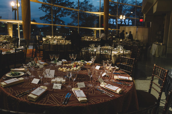 Tables are set for the sixth annual Military Thanksgiving at Arena Stage at the Mead Center for American Theater on November 25, 2016.