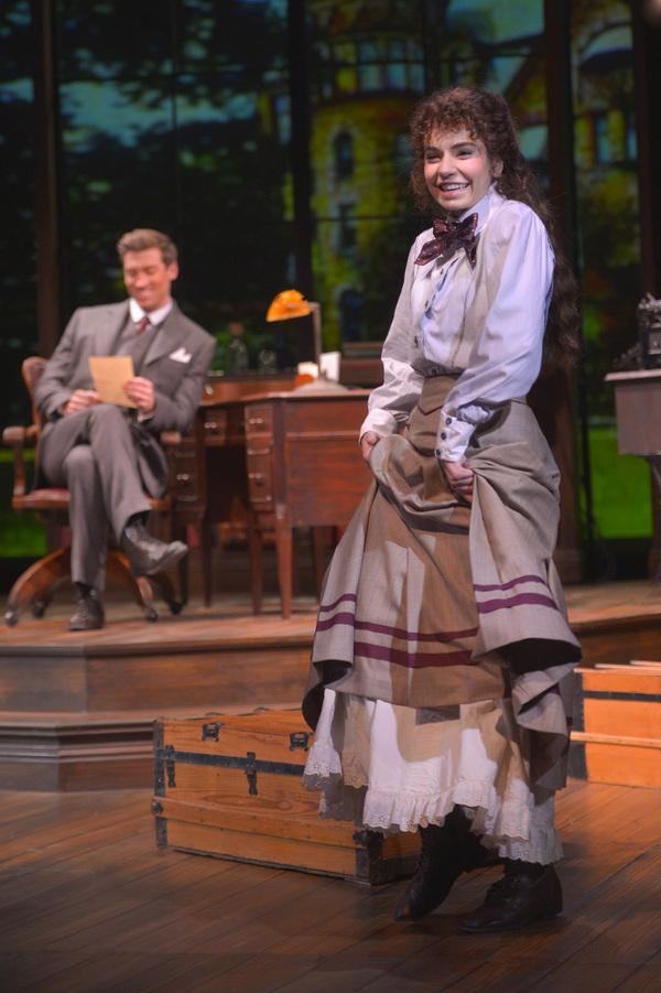 Jerusha Abbott (Hilary Maiberger) shows exuberance in her letters to Jervis Pendleton (Derek Carley)