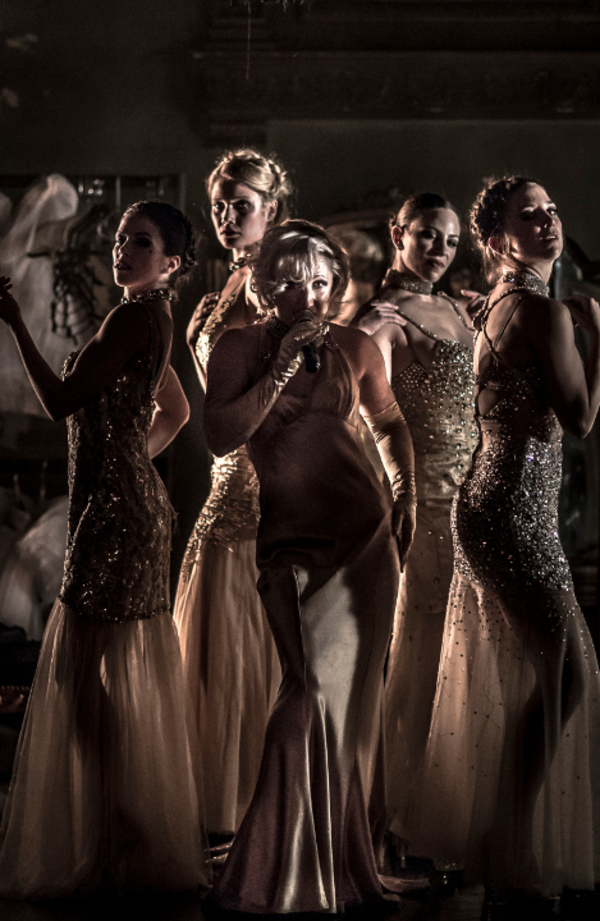 Marcy Richardson (center) and the cast of NUTCRACKER ROUGE