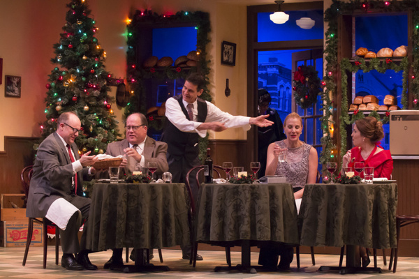 Actors Craig Griffin, Marion Arthur Kirby, Ric Hodgin, Elizabeth Marshall Black and Katie Fridsma share an impromptu Christmas Dinner in A. D. Players' O Little Town of Bagels, Teacakes and Hamburger Buns, playing through December 23.