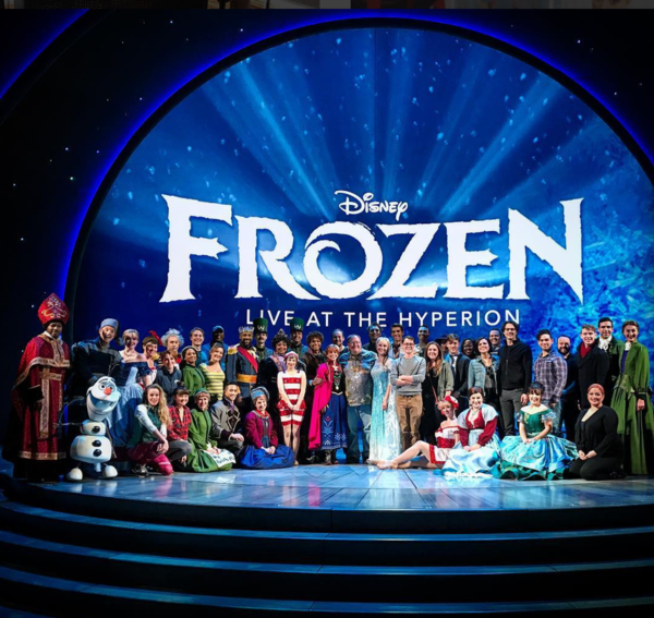 Frozen (Disneyland): @jkabobsIt was exciting to have John Lasseter, @lparrilla , and friends come to Arendelle today! Thank you all so much! #disney #frozenliveatthehyperion #dca #onceuponatime #pixar #lovemyjob #evilqueen #kingofanimation #canonlytag20 #