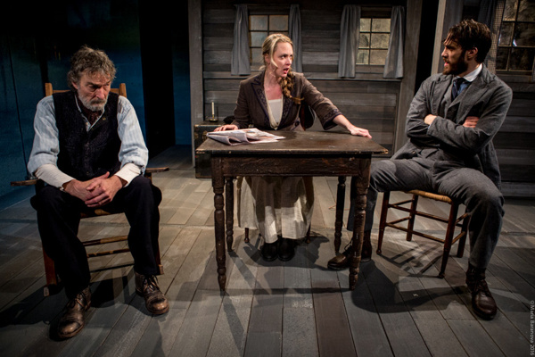 L to R: Therese Plaehn, Stephen D'Ambrose, and Ben Chase in ANNA CHRISTIE, directed by Peter Richards.Photo by Maria Baranova.