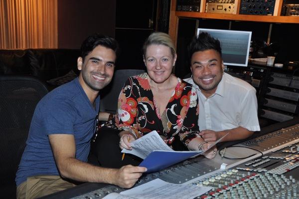 Mauricio Perez, Lynn Pinto (Producer) and Andros Rodriguez (Engineer) Photo