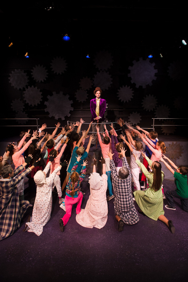 John Loughney and the Cast of Roald Dahl's Willy Wonka at NextStop Theatre. Photo by Traci J. Brooks Studios.