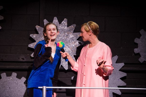 L-R: Mallory St. Arnold and Jaclyn Young Violet and Phinneas Trout in Roald Dahl's Willy Onka at NextStop Theatre. Photo by Traci J. Brooks Studios.