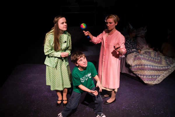 L-R: Vivian Lemons,  William Price, and Jaclyn young Roald Dahl's Willy Onka at NextStop Theatre. Photo by Traci J. Brooks Studios.