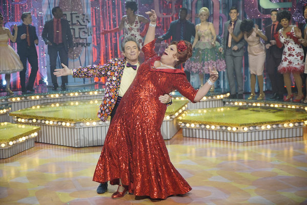 HAIRSPRAY LIVE! -- Pictured: (l-r) Martin Short as Wilbur Turnblad, Harvey Fierstein as Edna Turnblad -- (Photo by: Paul Drinkwater/NBC)