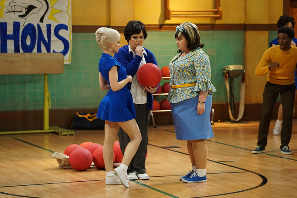 HAIRSPRAY LIVE! -- Pictured: (l-r) Dove Cameron as Amber Von Tussle, Rosie O'Donnell as Health Ed Teacher, Maddie Baillio as Tracy Turnblad -- (Photo by: Chris Haston/NBC)