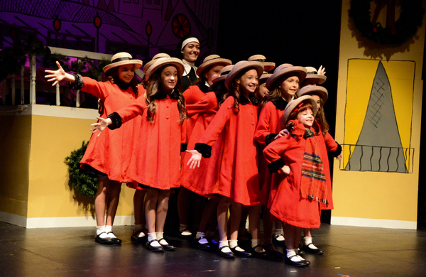 Sophie Knapp, Macy Idzakovich and the cast of Madeline's Christmas that includes Hannah Moore, Simone Vysnovsky, Claire Kuntze, Charlotte Post-Lipnick, Toleeya Napolitano, Samantha Rascio, Brianna Haffenden, Madeleine Pace, Ally Veloudis, Hayden Declet an