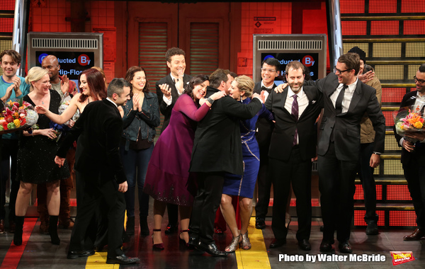 Kathleen Marshall, Kristen Anderson-Lopez,  James-Allen Ford, Sara Wordsworth, and Russ Kaplan with the cast