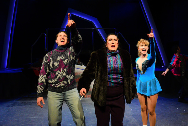 (front, l to r) Justin Adair, Veronica Garza and Amanda Horvath in Underscore Theatre Company's Chicago premiere of TONYA AND NANCY: THE ROCK OPERA. Photo by Evan Hanover.