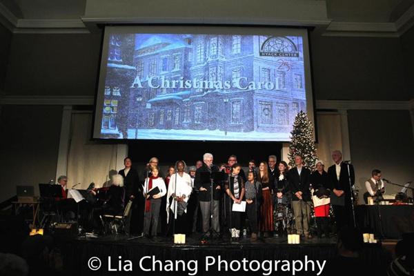 Tony Roberts as Ebenezer Scrooge and the full cast of A Christmas Carol with Garth Kravits at the live sound effects table.
