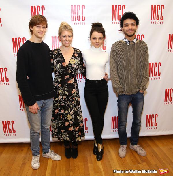 Lucas Hedges, Ari Graynor, Stefania Owen and Justice Smith