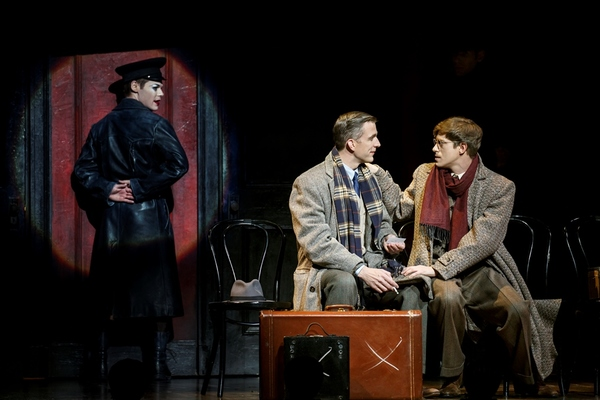 Randy Harrison as Emcee, Benjamin Eakeley as Clifford Bradshaw and Patrick Vaill as Ernst Ludwig in the 2016 National Touring production of Roundabout Theatre Company's CABARET.