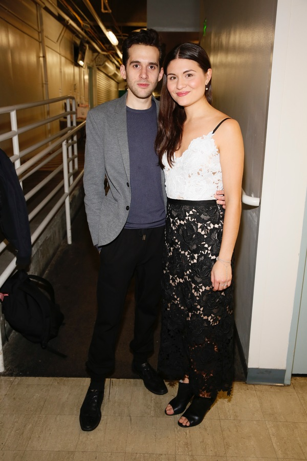 "cast members Adam Chanler-Berat and Phillipa Soo pose backstage after the opening night performance of ""Amélie, A New Musical"" at Center Theatre Group/Ahmanson Theatre on Friday, December 16, 2016, in Los Angeles, California. (Photo by Ryan Miller/Captu"