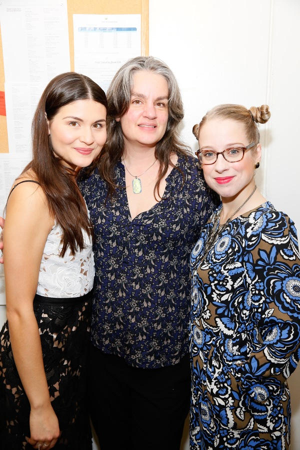 "From left, cast member Phillipa Soo, director Pam MacKinnon and cast member Alyse Alan Louis pose backstage after the opening night performance of ""Amélie, A New Musical"" at Center Theatre Group/Ahmanson Theatre on Friday, December 16, 2016, in Los Angel"