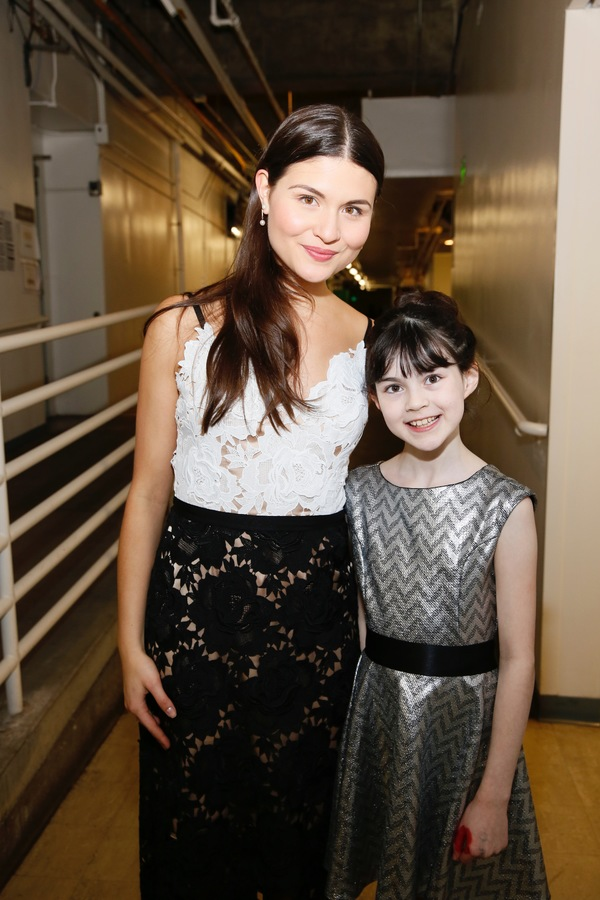 "From left, cast members Phillipa Soo and Savvy Crawford pose backstage after the opening night performance of ""Amélie, A New Musical"" at Center Theatre Group/Ahmanson Theatre on Friday, December 16, 2016, in Los Angeles, California. (Photo by Ryan Mille"