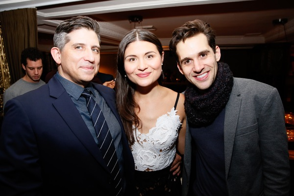 """From left, composer Daniel Messé and cast members Phillipa Soo and Adam Chanler-Berat pose at the party after the opening night performance of """"Amélie, A New Musical"""" at Center Theatre Group/Ahmanson Theatre on Friday, December 16, 2016, in Los Angeles,"""