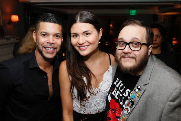 "From left, actor Wilson Cruz and cast members Phillipa Soo and Randy Blair pose at the party after the opening night performance of ""Amélie, A New Musical"" at Center Theatre Group/Ahmanson Theatre on Friday, December 16, 2016, in Los Angeles, California"