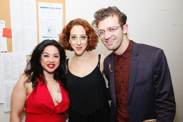 "From left, cast members Maria-Christina Oliveras, Alison Cimmet and choreographer Sam Pinkleton pose backstage after the opening night performance of ""Amélie, A New Musical"" at Center Theatre Group/Ahmanson Theatre on Friday, December 16, 2016, in Los A"