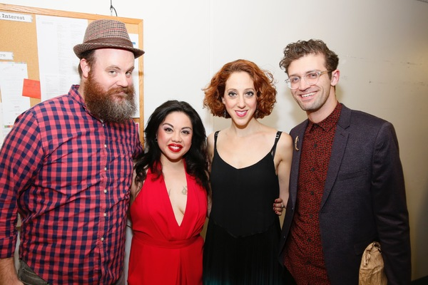 "From left, cast members Paul Whitty, Maria-Christina Oliveras, Alison Cimmet and choreographer Sam Pinkleton pose backstage after the opening night performance of ""Amélie, A New Musical"" at Center Theatre Group/Ahmanson Theatre on Friday, December 16, 2"