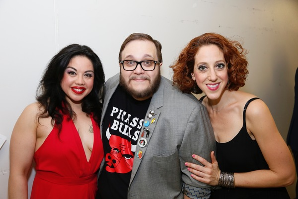 "From left, cast members Maria-Christina Oliveras, Randy Blair and Alison Cimmet pose backstage after the opening night performance of ""Amélie, A New Musical"" at Center Theatre Group/Ahmanson Theatre on Friday, December 16, 2016, in Los Angeles, Californi"