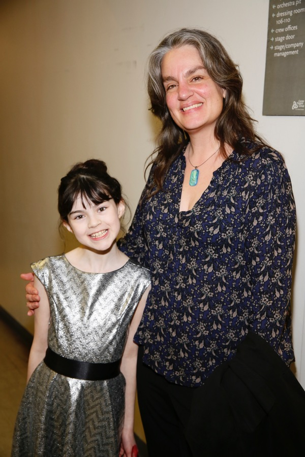 """From left, cast member Savvy Crawfordand director Pam MacKinnon pose backstage after the opening night performance of """"Amélie, A New Musical"""" at Center Theatre Group/Ahmanson Theatre on Friday, December 16, 2016, in Los Angeles, California. (Photo by R"""