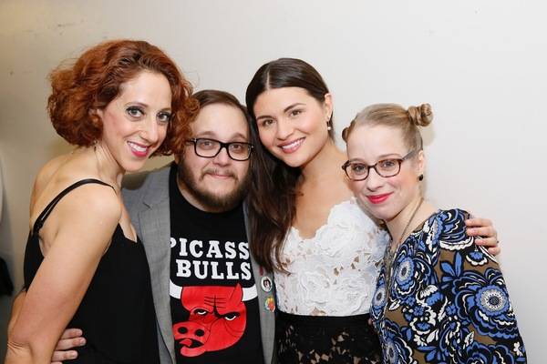 "From left, cast members Alison Cimmet, Randy Blair, Phillipa Soo and Alyse Alan Louis pose backstage after the opening night performance of ""Amélie, A New Musical"" at Center Theatre Group/Ahmanson Theatre on Friday, December 16, 2016, in Los Angeles, Cal"