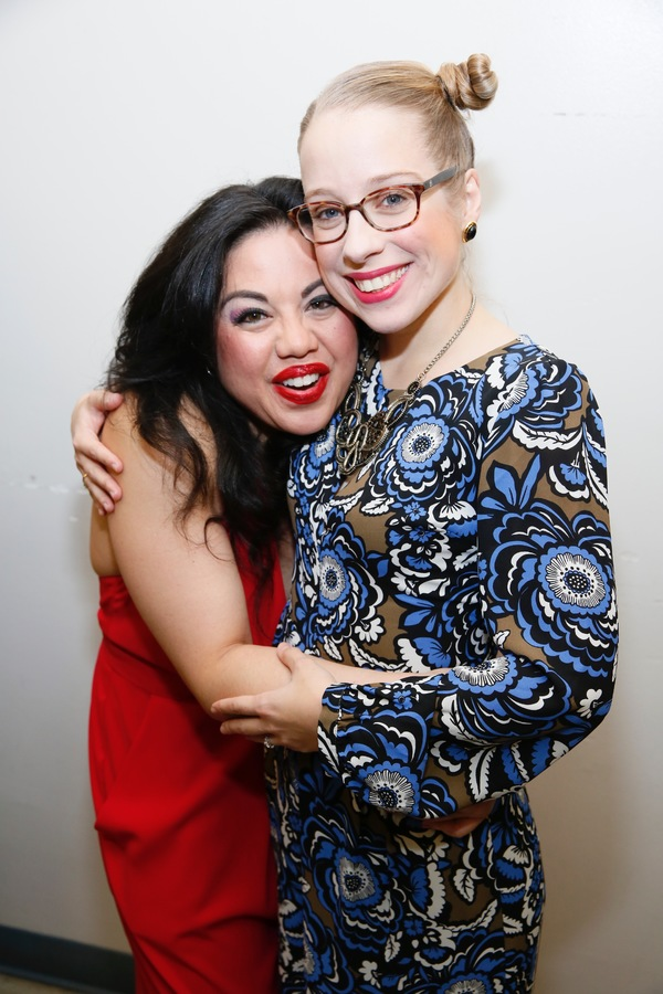 "From left, cast members Maria-Christina Oliveras and Alyse Alan Louis pose backstage after the opening night performance of ""Amélie, A New Musical"" at Center Theatre Group/Ahmanson Theatre on Friday, December 16, 2016, in Los Angeles, California. (Photo"