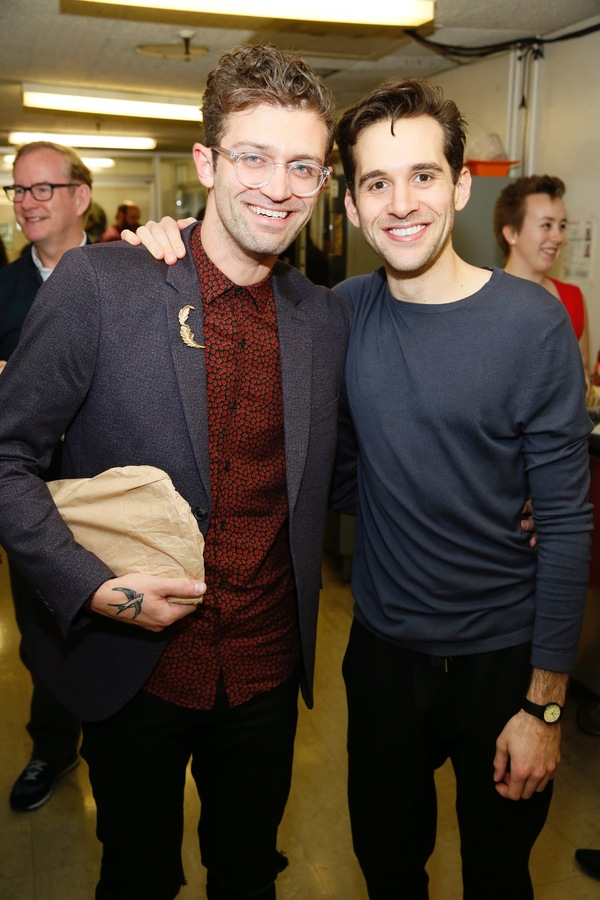 "From left, choreographer Sam Pinkleton and cast member Adam Chanler-Berat pose backstage after the opening night performance of ""Amélie, A New Musical"" at Center Theatre Group/Ahmanson Theatre on Friday, December 16, 2016, in Los Angeles, California. (Ph"