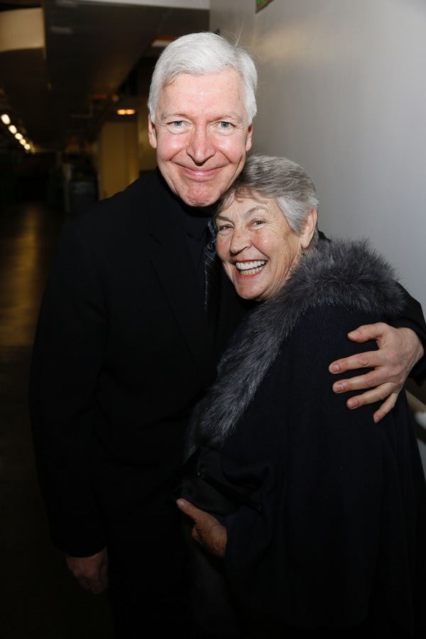 """From left, cast member Tony Sheldon and singer Helen Reddy pose backstage after the opening night performance of """"Amélie, A New Musical"""" at Center Theatre Group/Ahmanson Theatre on Friday, December 16, 2016, in Los Angeles, California. (Photo by Ryan Mil"""
