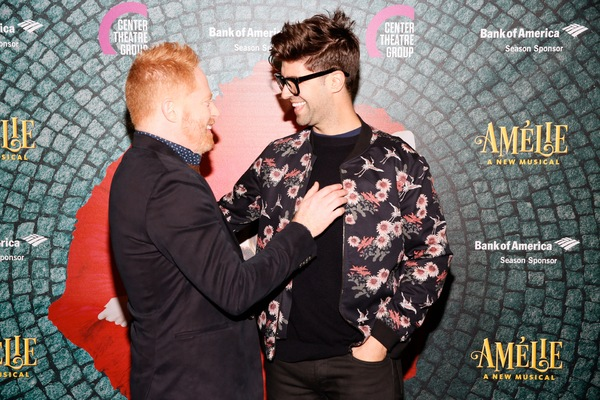 "From left, actor Jesse Tyler Ferguson and husband Justin Mikita arrive for the opening night performance of ""Amélie, A New Musical"" at Center Theatre Group/Ahmanson Theatre on Friday, December 16, 2016, in Los Angeles, California. (Photo by Ryan Miller/C"