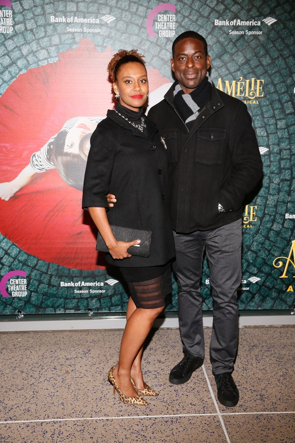 "From left, actors Ryan Michelle Bathe and Sterling K. Brown arrive for the opening night performance of ""Amélie, A New Musical"" at Center Theatre Group/Ahmanson Theatre on Friday, December 16, 2016, in Los Angeles, California. (Photo by Ryan Miller/Captu"