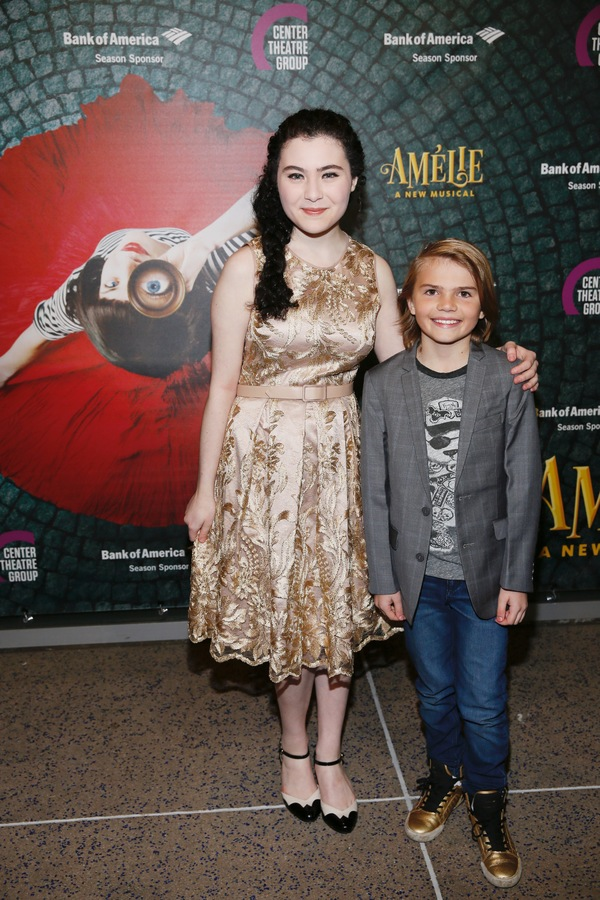 "Actors Lilla Crawford and Mason Mahay arrive for the opening night performance of ""Amélie, A New Musical"" at Center Theatre Group/Ahmanson Theatre on Friday, December 16, 2016, in Los Angeles, California. (Photo by Ryan Miller/Capture Imaging)"
