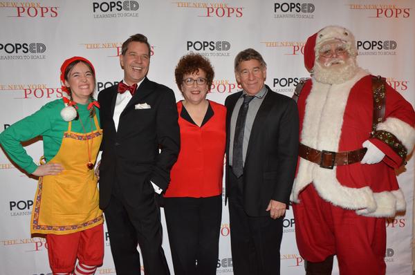 Steven Reineke, Judith Clurman, Stephen Schwartz with Santa Claus and his Elf