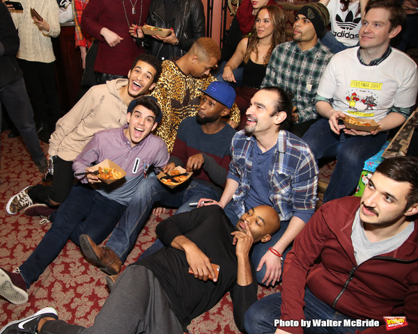 Jordan Fisher, Brandon Victor Dixon, Javier Munoz and Rory Oâ€Malley with the cast