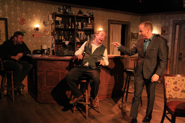 (left to right) Jeff Christian, Brad Armacost and Dan Waller in Irish Theatre of Chicago's production of THE WEIR by Conor McPherson, directed by Siiri Scott.  Photo by Emily Schwartz.