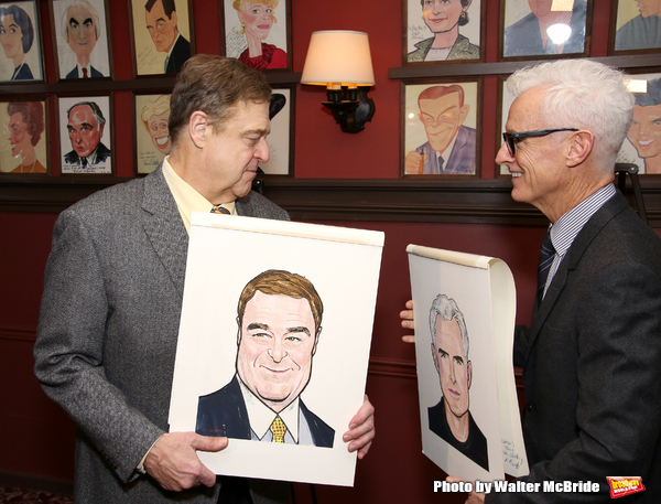 Photo Coverage: THE FRONT PAGE's John Goodman and John Slattery Get Immortalized at Sardi's!