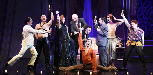 Hilarity ensues in the Maltz Jupiter Theatre's production of the blockbuster Mel Brooks musical The Producers, onstage through January 29. Pictured (left to right) are Paul Louis Lessard, Michael Buchanan, Michael Brian Dunn, Lenny Wolpe, Seth Tucker, G