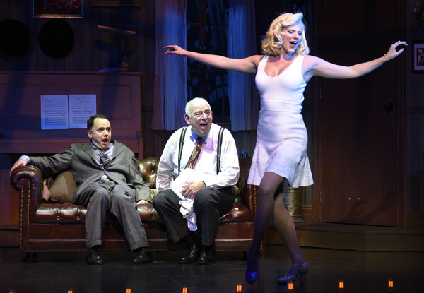 Mark Price, Lenny Wolpe and Elyse Collier star in the blockbuster Mel Brooks musical The Producers, onstage through January 29 at the Maltz Jupiter Theatre. Photo by Alicia Donelan.