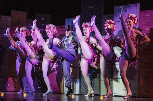 The blockbuster Mel Brooks smash hit musical The Producers is onstage through January 29 at the Maltz Jupiter Theatre. Pictured (left to right) are Emily KB Gough, Lori Barber Ramirez, Cara McMorrow, Mark Price, Elise Kinnon, Kate Wesler and Courtney Brad